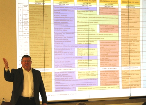Steger School District Supt David Thieman discusses the different teaching approach accompanying the change to grade centers. Photo credit: Dennis Sullivan