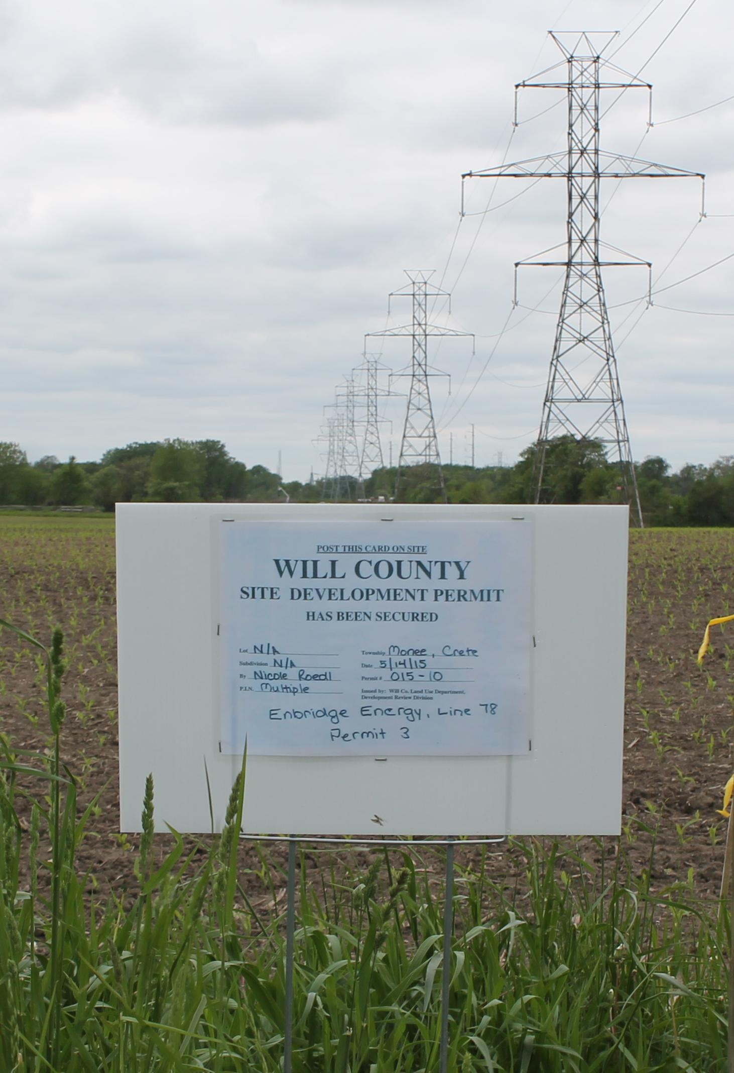 Illinois will county peotone - West View Of The Comed Right Of Way South Of Burville Road That Enbridge Energy Is