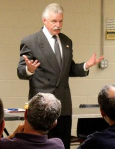 Jim Glasgow talks to Knights and guests Monday. Photo credit: Jim Piacentini